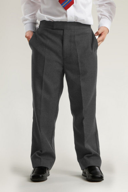 Grey Semi-Elasticated Clip and Zip Trousers