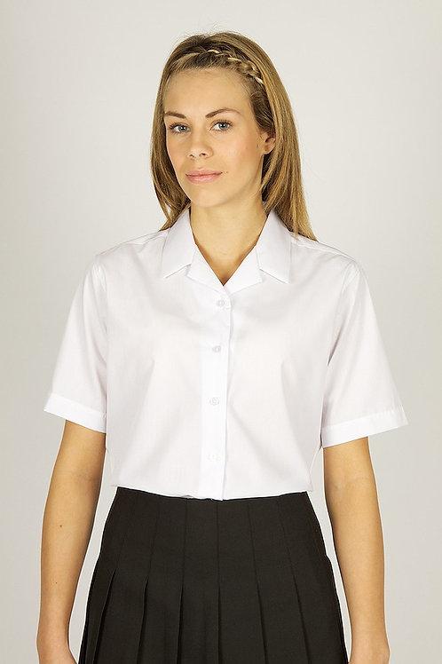 White Short Sleeve Rever Blouses TWIN PACK