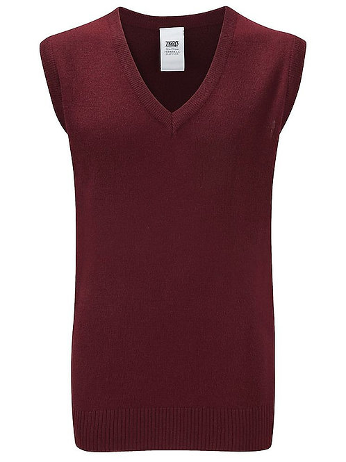 Maroon Knitted Tank Top with St Peters J&H Logo