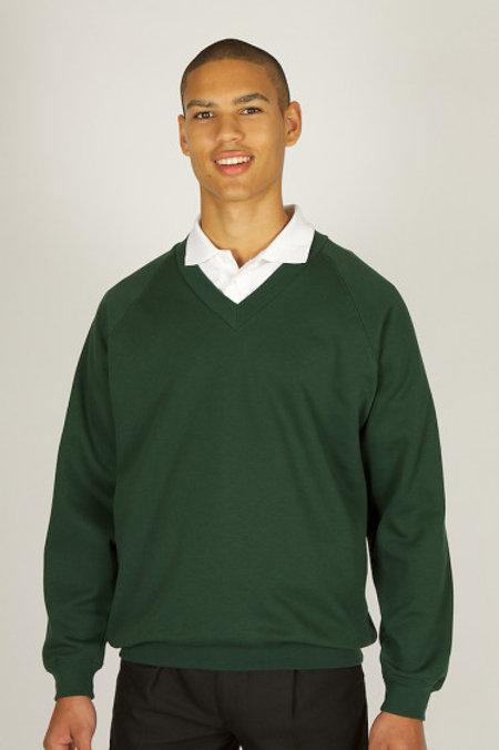 Green V-Neck Sweatshirt with Bedford Drive Logo
