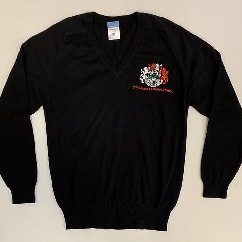 Black V-Neck Knitted Jumper with Birkenhead Logo