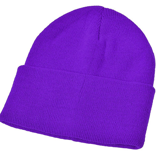 Purple Woolly Hat (Plain or Embroided)