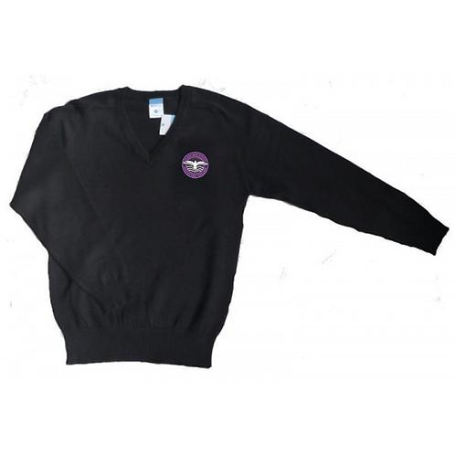 Black V-Neck Knitted Jumper with Hilbre Logo