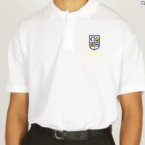 White Polo Shirt with Clare Mount Logo
