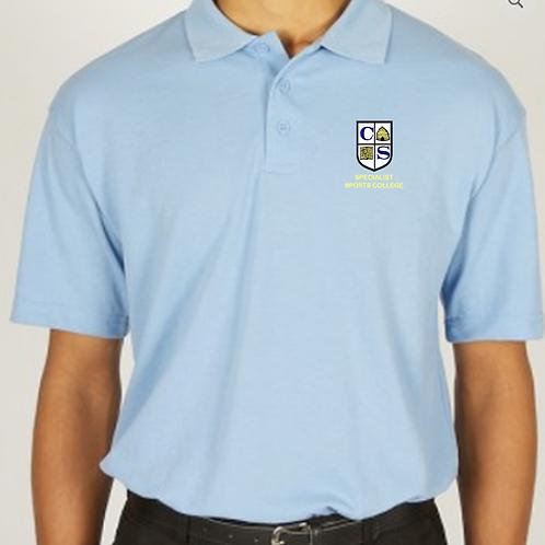 Sky Polo Shirt with Clare Mount Logo