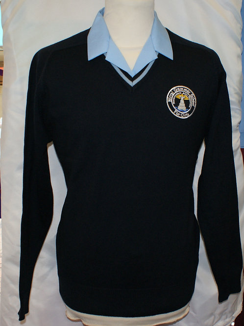 Wirral Girls Navy Knitted Jumper with sky edge