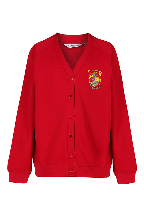 Red Cardigan with School Logo
