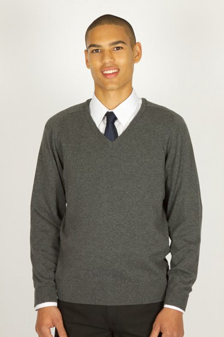Grey Knitted Jumper with Oldershaw Logo