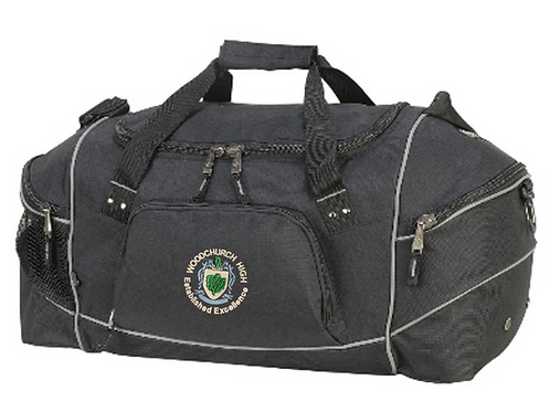 Black sports holdall with Woodchurch logo