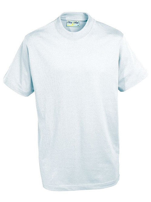 White PE T-shirt with Woodchurch Road logo