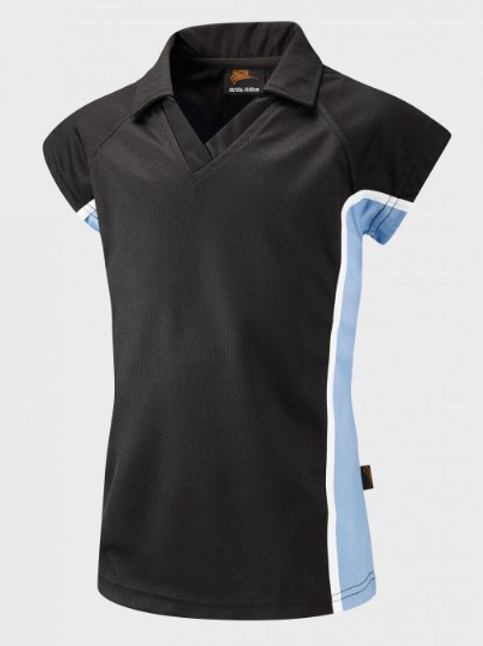 Girls Navy / Sky PE Polo with Green Meadow Logo Embroidered on