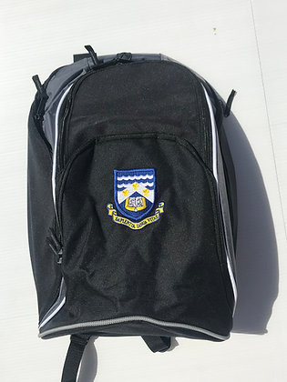 Black Rucksack with Logo Embroidered