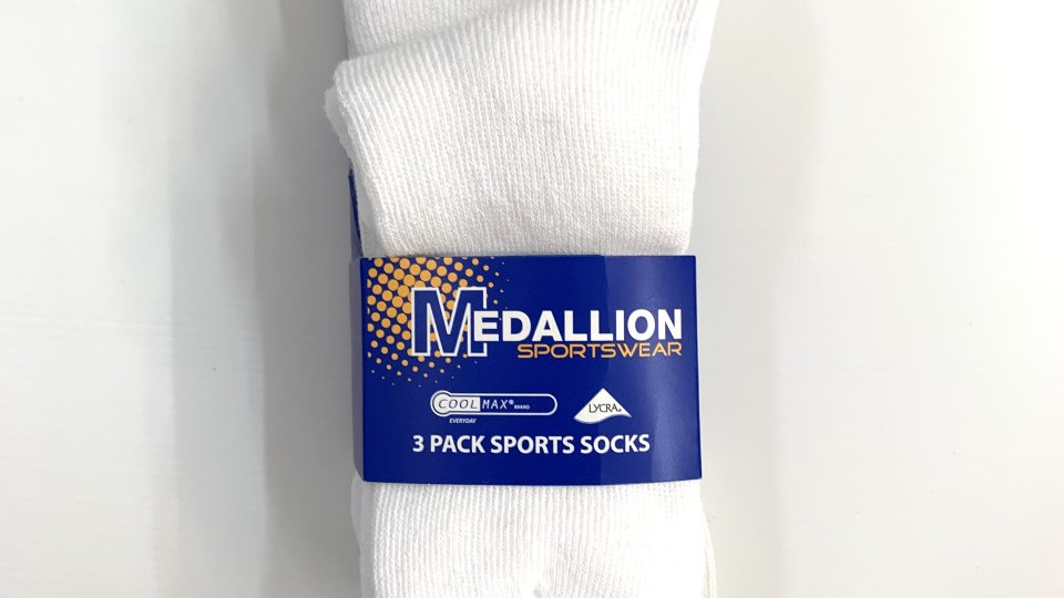 Coolmax Medallion White Sport Socks (3-Pack)