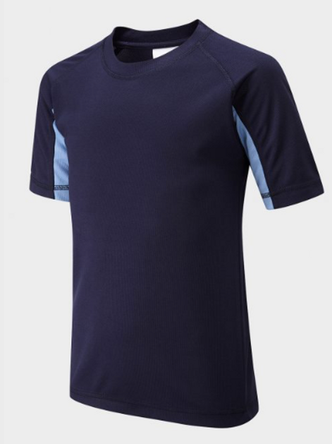 Navy and Sky PE T-shirt with Green Meadow Logo