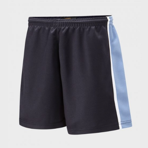 Navy and Sky Panelled PE Shorts with Green Meadow Logo