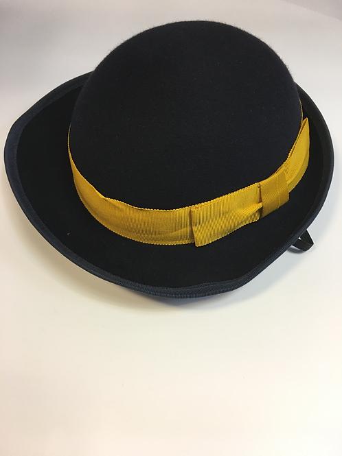 Girls Navy Felt Hat with Ribbon