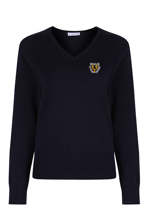 Navy V-Neck Knitted Jumper with West Kirby Logo