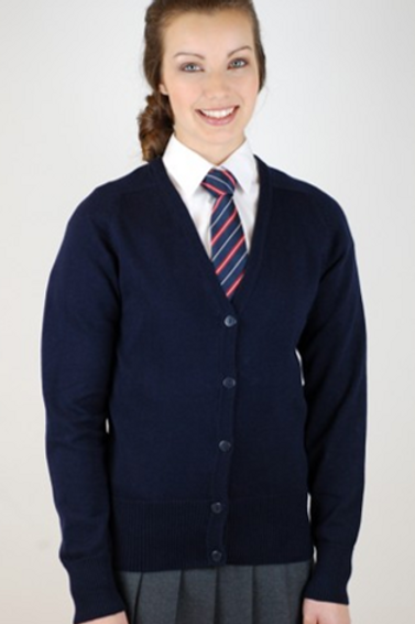 Navy Knitted Cardigan with Our Lady of Pity logo