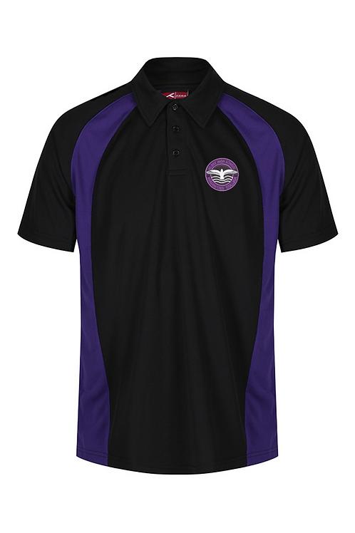 Black and Purple PE Polo with Hilbre logo