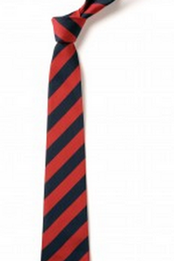 Red and Navy Striped Tie (No. 15.5)
