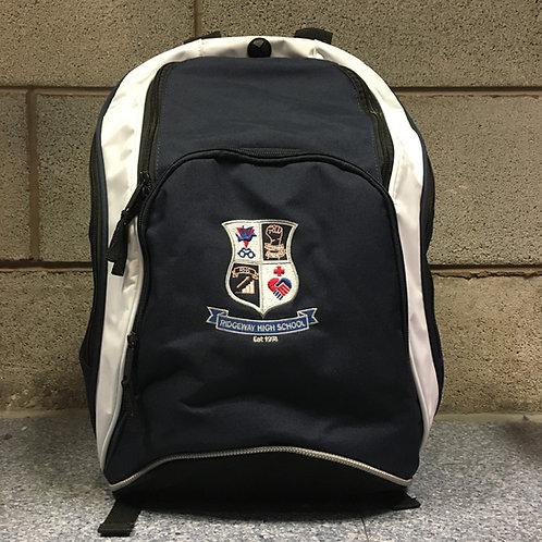 Navy rucksack with Ridgeway logo