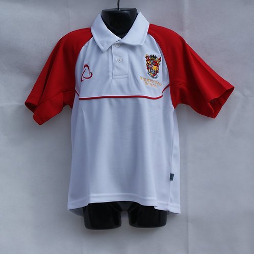 Boys White Polo Shirt with House Colour