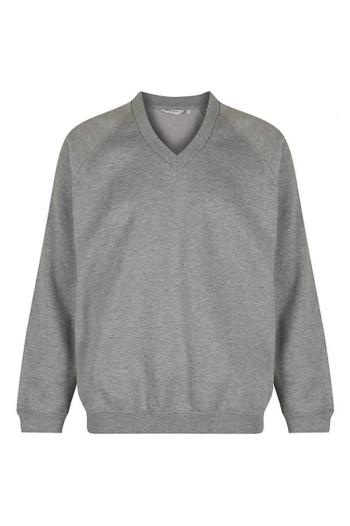 Grey V-Neck Sweatshirt with Mendell Logo