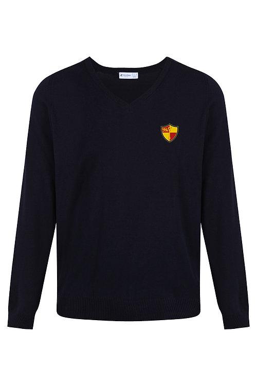 Navy V-Neck Knitted Jumper with Prenton Logo