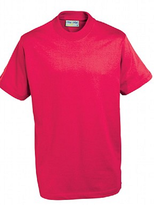 Red PE T-shirt with Brookhurst Logo
