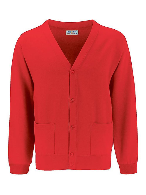 Red 'Blue Max' Sweatshirt Cardigan