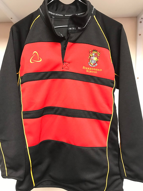 Black/Red Long-Sleeved Rugby Top