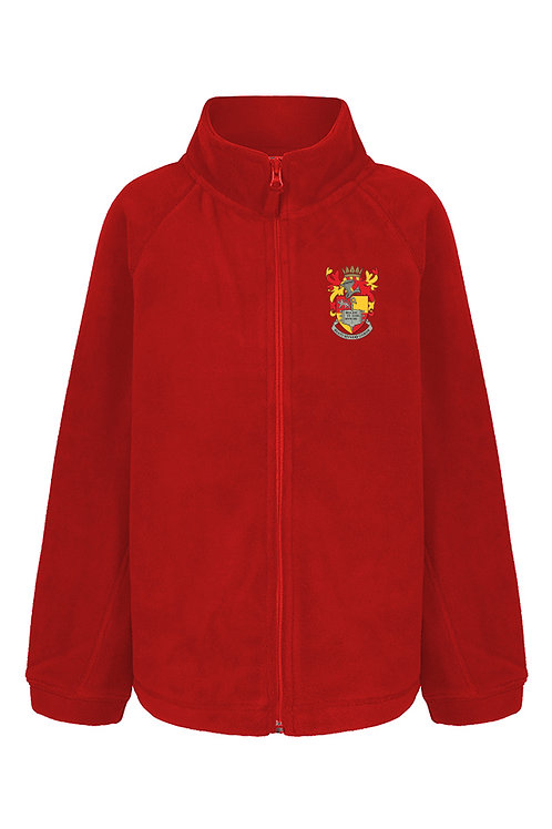 Red Full Zip Fleece Jacket with School Logo