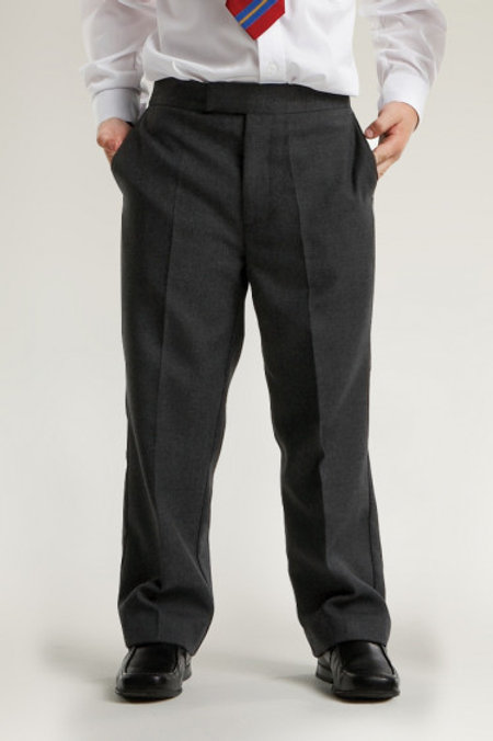 Charcoal Semi-Elasticated Clip and Zip Trousers