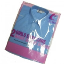 Button-up Collar Blue Blouses (Twin Pack)