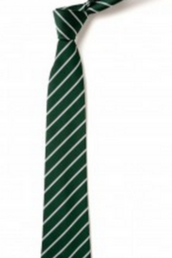 Green and White Thin Striped Tie (No.22)