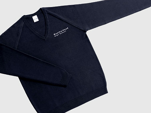 Navy V-Neck Knitted Jumper with Weatherhead Logo
