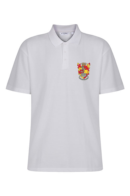 White PE Polo Shirt with School logo