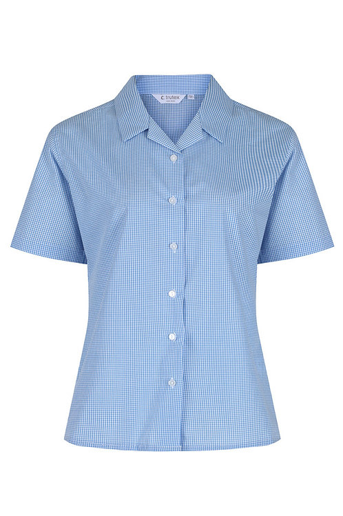 Blue Checked Rever Trutex Blouse (Twin Pack)