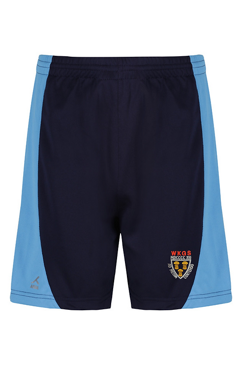 Navy and Sky PE Shorts with West Kirby Logo