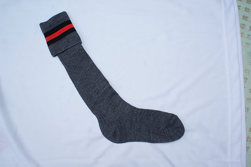 Grey Socks with red stripe