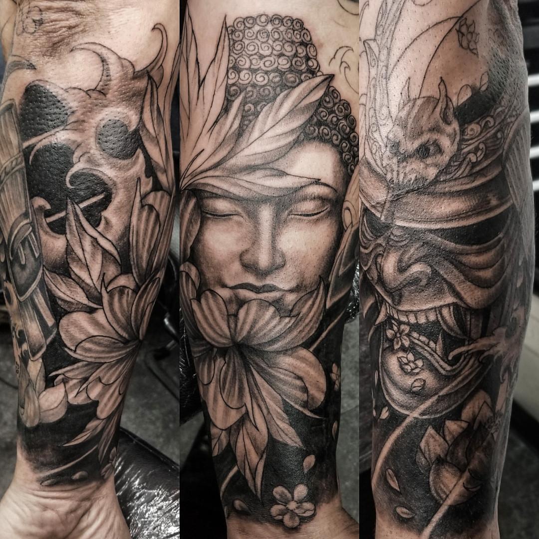 Buddha and japanese mask tattoo.jpg