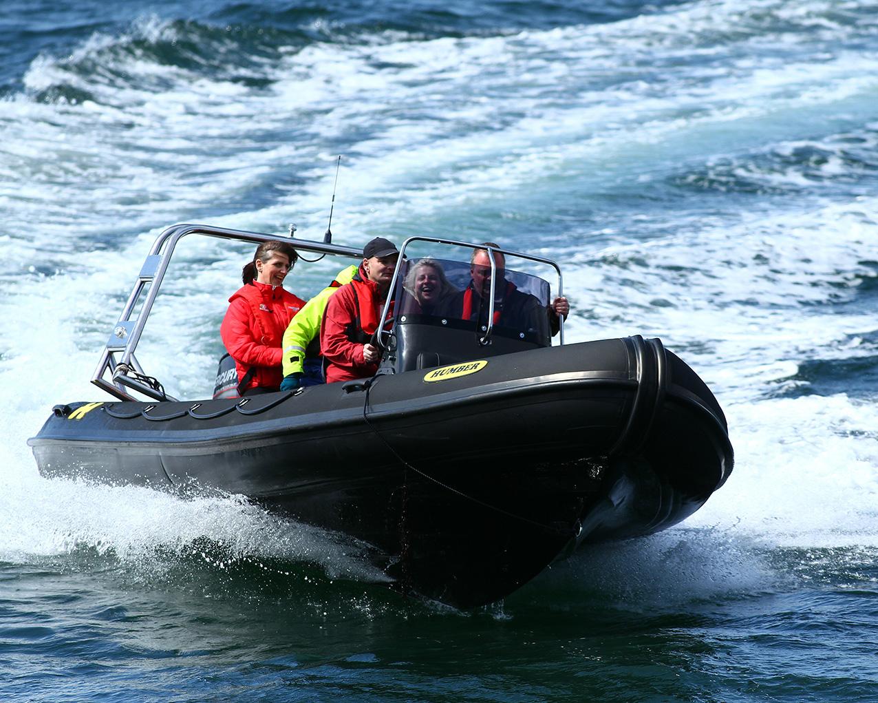 A fast motor rib at sea