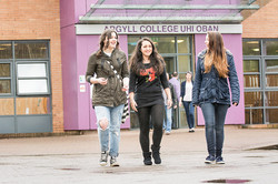 Three students outside college