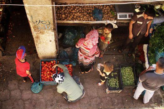 Vista do mercado no Iraque.