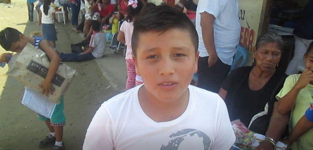 Jean Pierre teve sua oração respondida. Ele vive na comunidade de La Estancia/Simón Bolívar.
