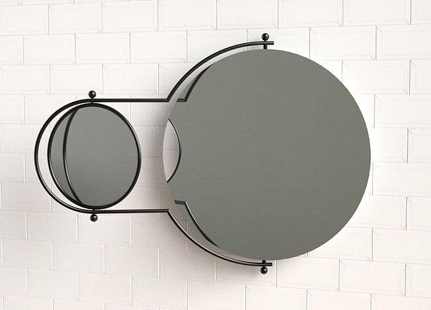 Orbit Wall Mirror Black on Tiles