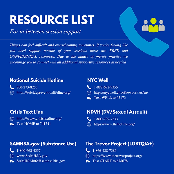 Resource List for In Between Session Sup