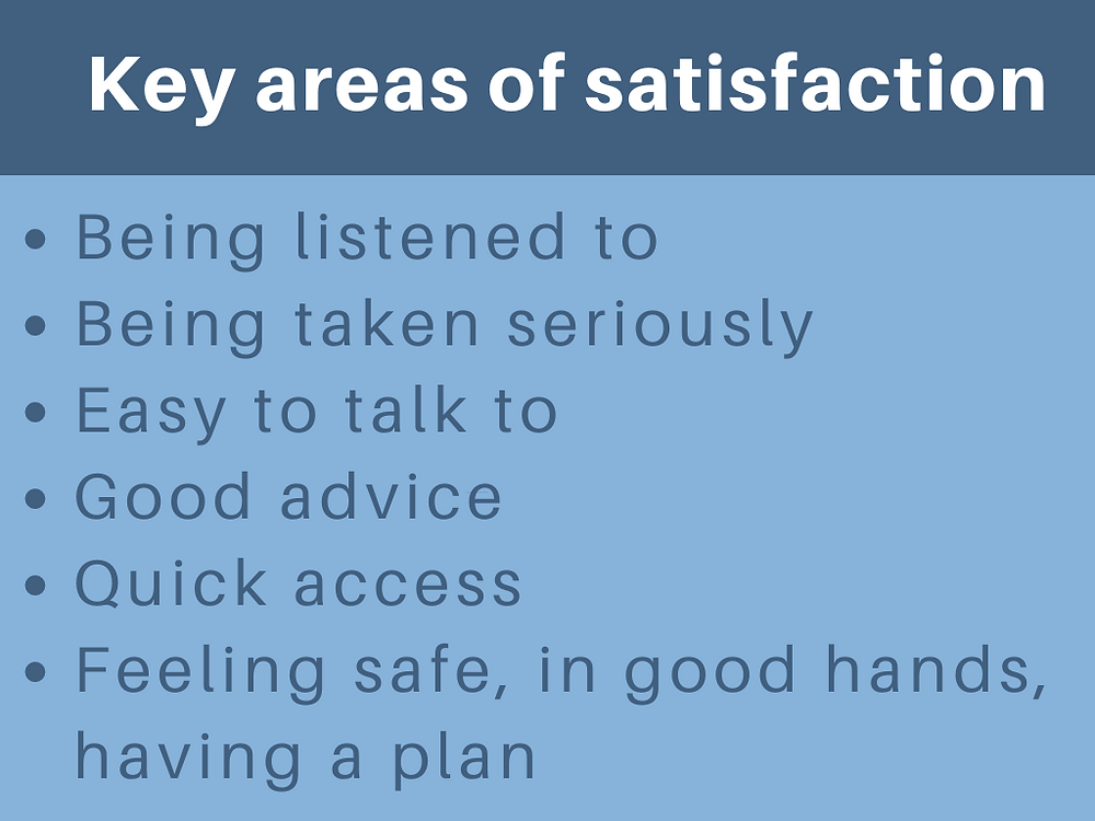 Key areas of satisfaction