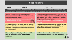The 'Need to Know' self-management communication tool