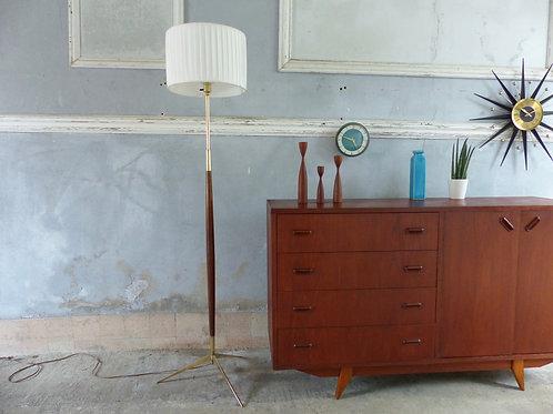 Lampadaire scandinave vintage bois et laiton